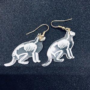 Jewelry - Acrylic cat skeleton x ray earrings.
